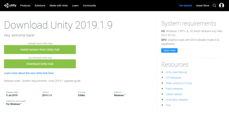 Download unity 3d 2019