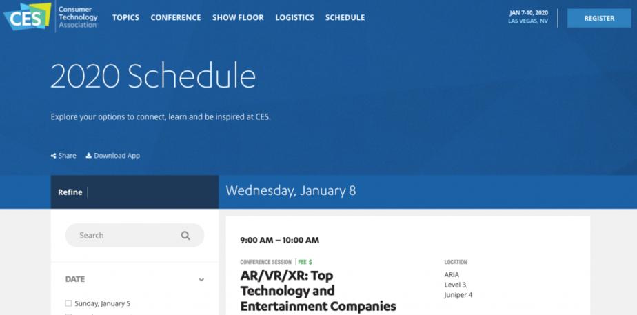 CES 2020 Schedule