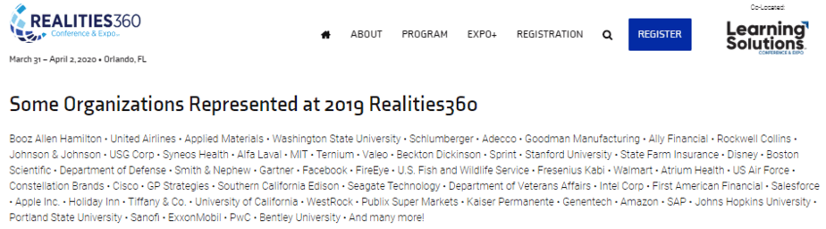 Realities360 previous sponsors